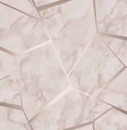 Marble Fractal Metallic Wallpaper Rose Gold