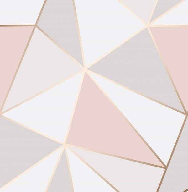 Apex Geo Metallic Wallpaper Pink Rose Gold Fine Decor Wallpaper