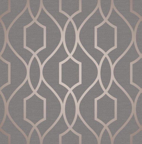 Apex Trellis Metallic Wallpaper Stone Silver Rose Gold Grey