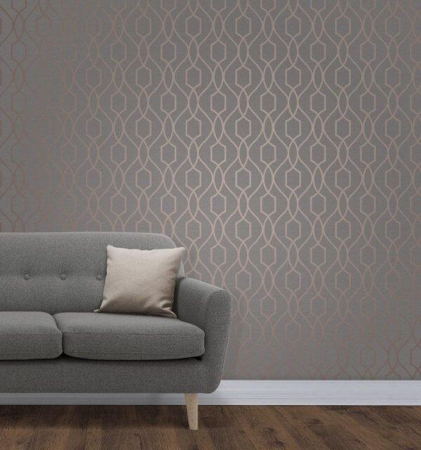 Apex Trellis Sidewall Wallpaper Copper: Decorating Centre Online - Decorating