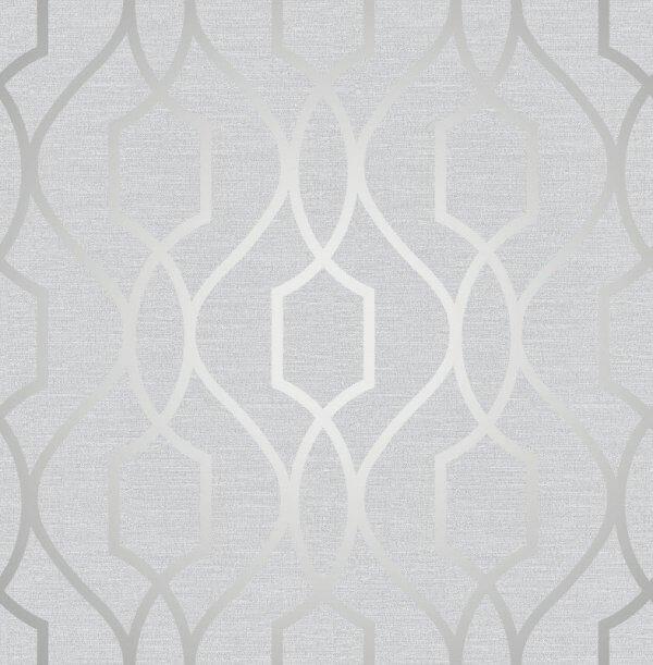 Trellis Wallpaper Metallic: Apex Trellis Metallic Wallpaper Stone & Silver