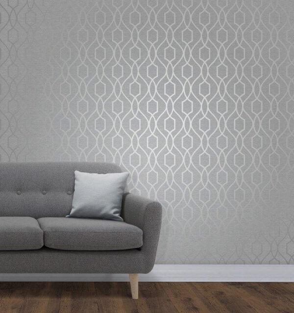 Apex Trellis Metallic Wallpaper Fine Decor Wallpaper
