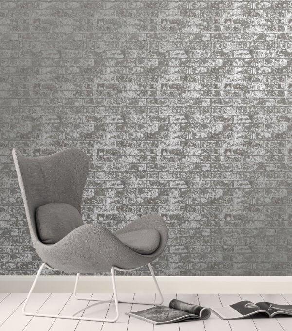 Loft style metallic 3d brick effect wallpaper fine decor for 3d effect wallpaper for home
