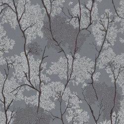 Japanese Garden Botanical Wallpaper Dark Grey