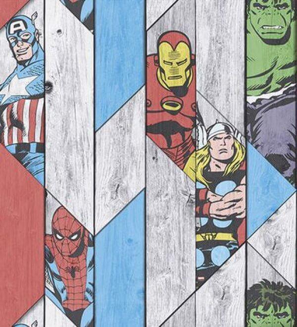 Marvel Action Heroes Wood Panel Wallpaper | Graham & Brown ...