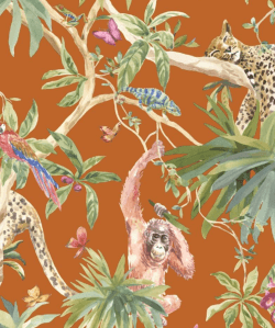 Orangutan Jungle Tropica Wallpaper Orange