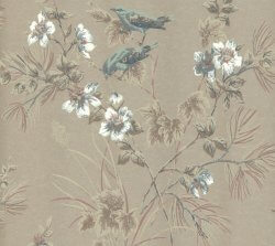 Rosemore Flower Bird Wallpaper Metallic Taupe