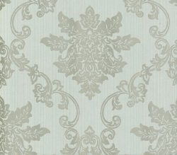 Rosemore Hampton Damask Wallpaper Duck Egg and Silver