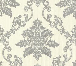 Rosemore Hampton Damask Wallpaper Cream and Silver