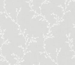 Rosemore Millton Delicate Leaves Wallpaper Grey