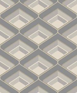 Geo 70's Retro Geometric Wallpaper Grey