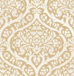 Sandringham Damask Pattern Wallpaper Mustard Yellow