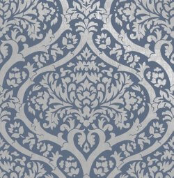 Sandringham Damask Pattern Wallpaper Navy Blue