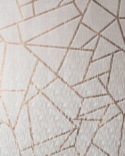 Theia Geometric Metallic Wallpaper Rose Gold