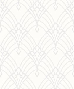 Astoria Art Deco Fan White & Silver Wallpaper