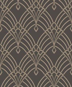 Rasch Astoria Art Deco Fan Charcoal & Grey Wallpaper
