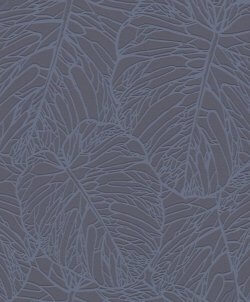 Velvet Metallic Leaf Wallpaper Navy