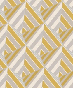 Geometric Prism Metallic Wallpaper Mustard