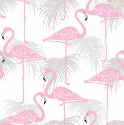 Flamingo Wallpaper Grey & Pink