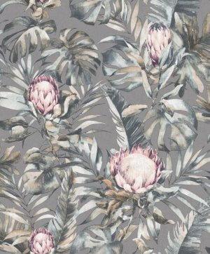 Protea Botanical Flower Wallpaper Grey