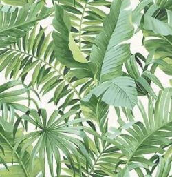 Solstice Tropical Leaf Wallpaper Green