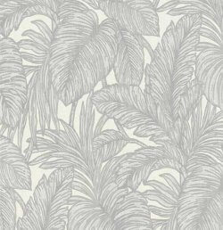 Hacienda Botanical Leaf Wallpaper Silver & Grey