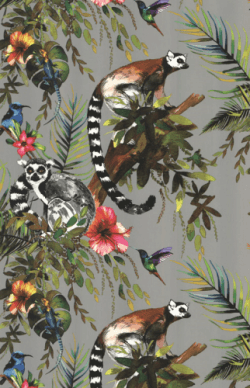 Lemur Jungle Metallic Wallpaper