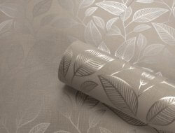 Rosemoor Metallic Leaf Wallpaper Taupe