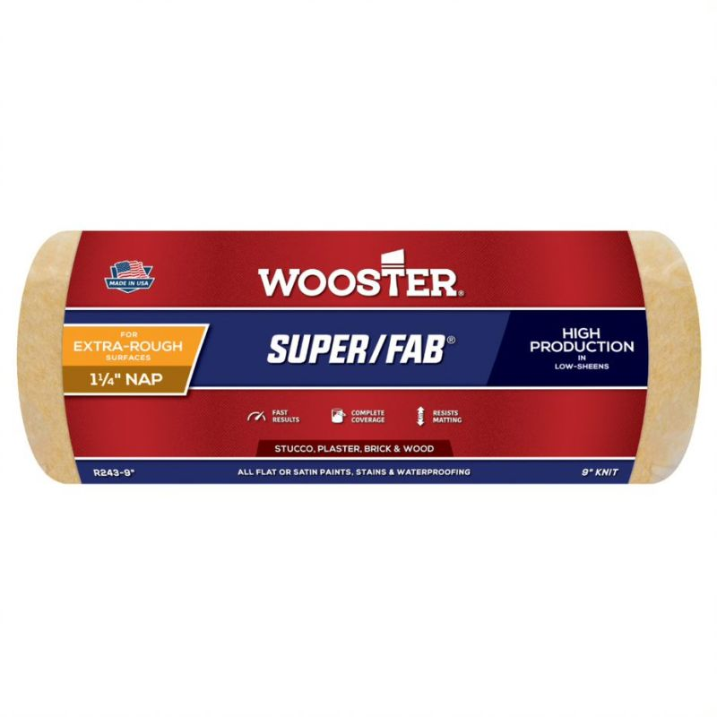 """Wooster Super-Fab 9 inch Masonry Roller Sleeve - 1.25"""" Pile"""